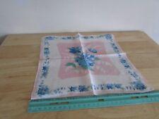 Handkerchief Hanky Hankie Vintage Floral approx 11 x 11 Pink Blue White