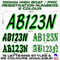 2x100mm,2 colour Wave runner,jetski,PWC REGISTRATION rego numbers sticker decals