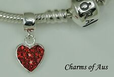 PANDORA Genuine bracelet WITH 925 S/Silver Red Heart CZ Dangle charm. Christmas.