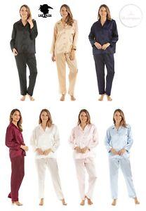 Ladies Luxury Satin Nightwear Full Length Button Up Pyjama PJ Set Valentines