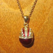 Russian FABERGE inspired DARK RED ENAMEL Swarovsky Crystals EGG pendant chain