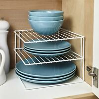 White Steel Kitchen Cupboard Worktop Corner Plate Rack Holder Tidy Organiser