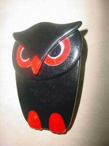 "SIGNED LEA STEIN PARIS VINTAGE BROOCH OWL BLACK & RED 2 3/8"" X 1 7/8"""