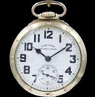 10k Gold Hamilton 992B 21 Jewel RAILWAY SPECIAL Pocket Watch Large 16s RR Grade