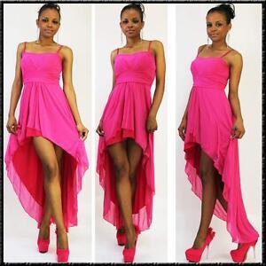 Rosa Kleid Abend Sommerkleid in Pink vorne kurz hinten lang 36 38 SALE