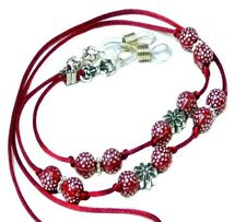 Reading Eye glasses spectacle chain holder lanyard cord, Red Beaded