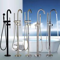 Free Standing Bathtub Faucet Floor Mount Brass Tub Filler Mixer Tap Hand Shower