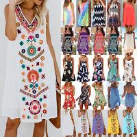 Womens Summer Holiday Sleeveless Short Mini Beach Dress Bikini Cover Up Sundress