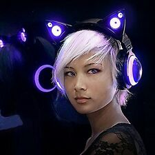 Ear Cat Headphones Led Gaming Lights Headset Music Earphone Foldable New
