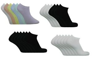 3,6,12 Pairs Ladies TRAINER Liner Colourful Pastel Summer Low Cut Socks Size 4-7