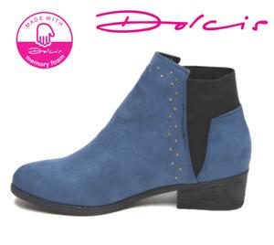 Ladies Dolcis Wendy Blue Faux Suede Chelsea Dealer Memory Foam Ankle Boots