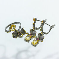 Vintage Handmade Jewelry SET Natural 7x5 mm Citrine 925 Sterling Silver/ RVSS06