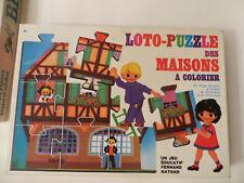 Loto puzzle des maisons à colorier 1972, Fernand Nathan - Cavahel Vintage