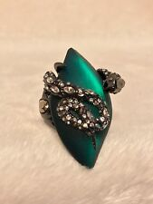 New ALEXIS BITTAR Emerald Green Lucite Crystal Encrusted SNAKE Ring -Size 7.5