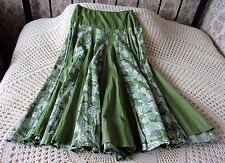 Floral cotton skirt by DASH Size 10 Green with white floral Semi crinkled