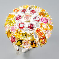 Fine Art Jewelry Natural Tourmaline 925 Sterling Silver Ring Size 9/R119474