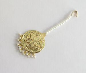 Round Jadau Star Maang Tikka/Gold Indian Pakistani Muslim Round Tikka Jewellery