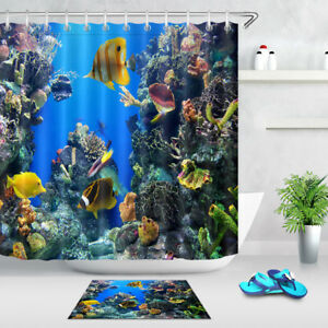Marine Life Fishes Shower Curtain Liner Bathroom Mat Set Polyester Fabric Hooks