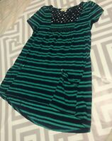 Anthropologie Meadow Rue green black striped blouse smock neck eye let back sz S