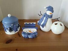 Kohl's Christmas 3 pc Bathroom Set Snowman Blue & White