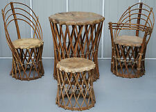 RARE MEXICAN EQUIPALE ANTIQUE NATIVE AMERICAN TRIBAL CHAIRS SIDE & DINING TABLE