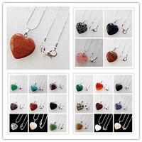 Interesting Mixed Gemstone Heart Necklace 17.5 inch HX71