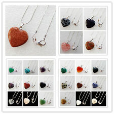 Interesting Mixed Gemstone Heart Necklace 17.5 inch HX71
