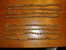 "Lot of 2 - 144"" Vintage Gold Mercury Glass Bead Christmas Tree Garland"