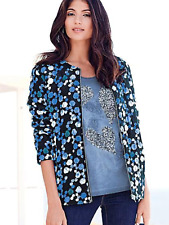 Kaleidoscope Size 10 Blue Print Quilted Bomber JACKET Versatile Occasion £59 Fab