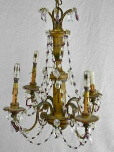 """1940's French chandelier with four lights. Clear and violet pendants. 19¼"""" x 18"""""""