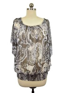 INC International Concepts Blouse 1X Gray Paisley Sheer Short Sleeve Elastic Hem