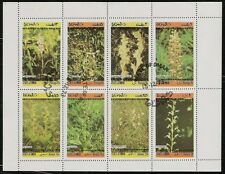 State of Oman sheet of 8 Flower Stamps, Orchids, Plants, CTO Trucial State bogus