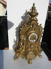 Vintage Imperial Brass Mantel Clock,  New Movement Made by Seiko,  Specks Bellow