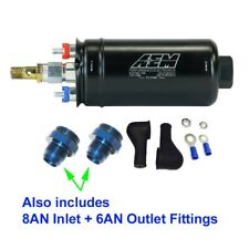 GENUINE AEM Metric 400LPH Inline Fuel Pump + 8AN Inlet / 6AN Outlet Fittings