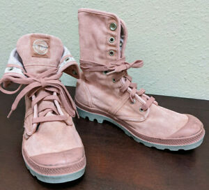 Palladium Pallabrouse Baggy Womens Canvas Boots Old Rose + Vapor Barely Used!