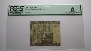 1775 2 Shillings 6 Pence Connecticut CT Colonial Currency Note Bill F12 PMG 2s6d