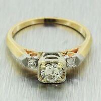 1940s Antique Art Deco 14k Yellow & White Gold 0.45ctw Diamond Engagement Ring