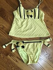 Betsey Johnson Forget Me Not Tankini two piece swimsuit S/M $186 Yellow