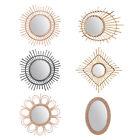 Rattan Mirror Innovative Art Decoration Round Makeup Dressing Bathroom Hanging