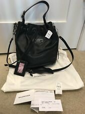 8117ddccf1 Balenciaga Papier Plate Side Zip Leather S AJ Black Bucket Bag NWT  2150