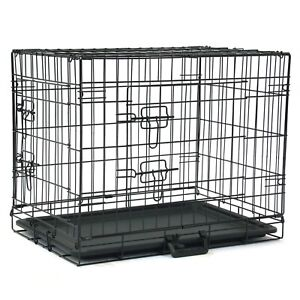 "24"" - 48"" Pet Cage Folding Puppy Dog Cat Rabbit Crate Cage Playpen Kennel w/Tray"