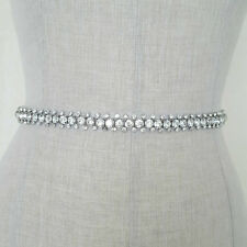 Wedding Bridal Dress Belt Sash Thin Vintage Sparkle Diamante Ivory Ribbon B100