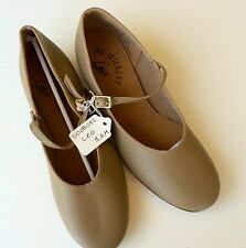"Leo Al Gilbert Tap Dance Shoes Tan Girls or Women's Size 5.5M  with 1"" Heel"
