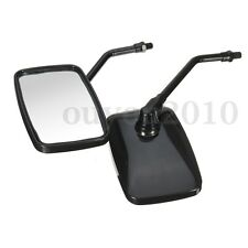 10MM Thread Black Rectangle Rearview Side Mirrors For Motorcycle Scooter ATV