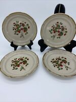 4 International Endura La Fraise SALAD PLATES Stoneware JAPAN Strawberry