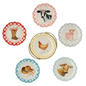 Pioneer Woman Novelty Gingham 7-Inch Plates with Rack 7-Piece Set Country-Chic