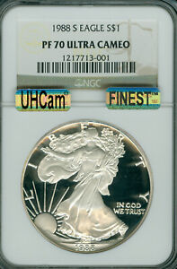1988-S PROOF SILVER EAGLE NGC PF70 ULTRA HEAVY CAM MAC FINEST MAC SPOTLESS .
