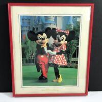 Vintage Disney World Mickey & Minnie Mouse Castle FRAMED Photo Picture Souvenir