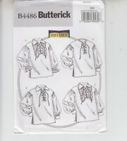 Butterick 4486 Men's Misses Shirt Lace front Gathered Sleeve Sewing Pattern S-L