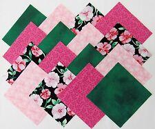 "24 5"" ROSE PARADE Fabric Quilt Squares Quilting Roses Floral Pink Material Block"
